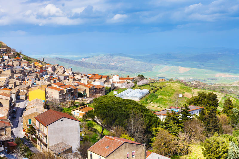 Above view of Aidone town in Sicily in spring. Italy royalty free stock image
