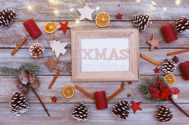 Above view on christmas table, frame with copy space stock photography