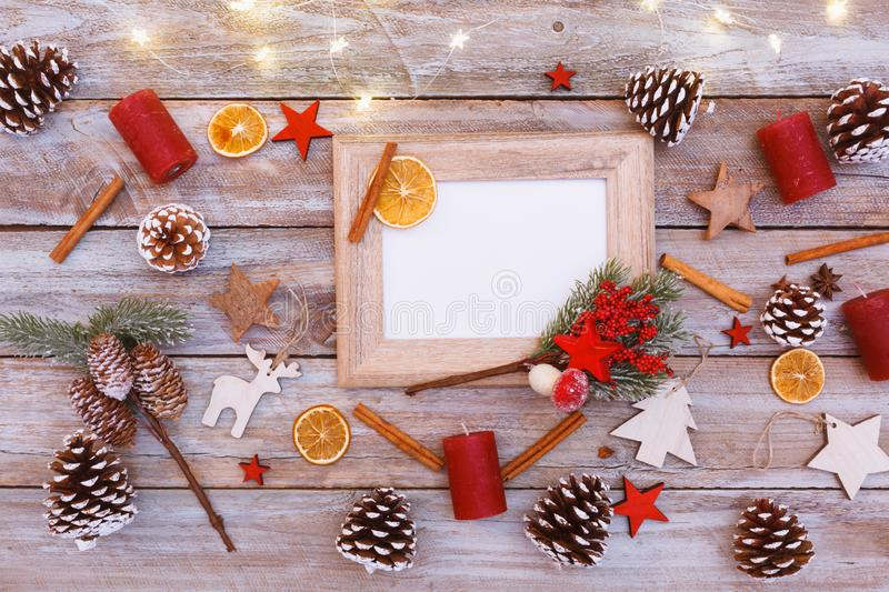 Above view on christmas table, frame with copy space stock photos