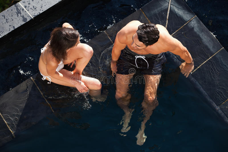 Download Above View Of A Couple Talking Stock Photo - Image of fresh, blue: 22236598