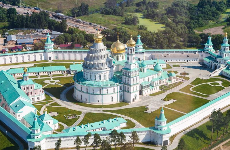 Above view of courtyard of New Jerusalem Monastery royalty free stock image