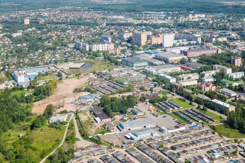 Above view of Dedovsk town in Moscow Region. Of Istrinsky district stock photos