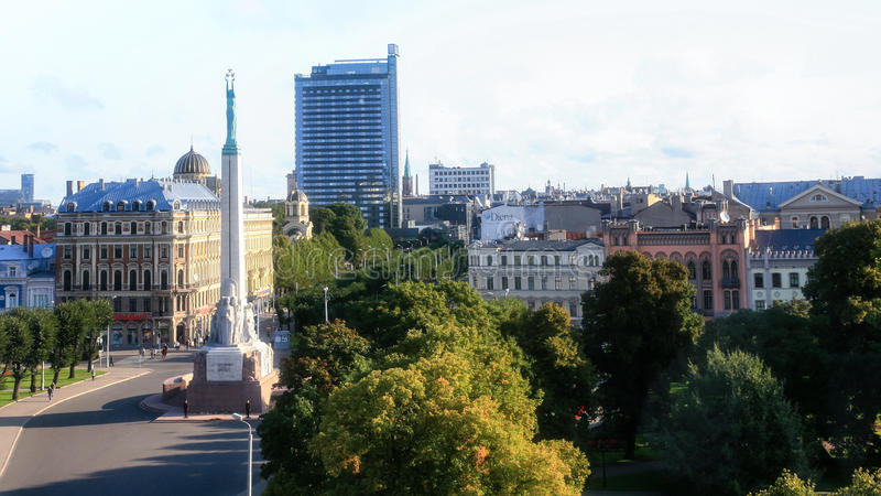 Above view of Freedom Monument square in Riga city stock photo