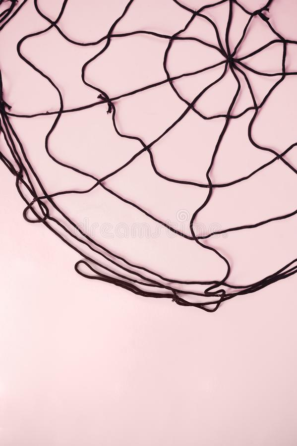 Above view of Happy Halloween festival background. Black spider web on pastel pink stock image