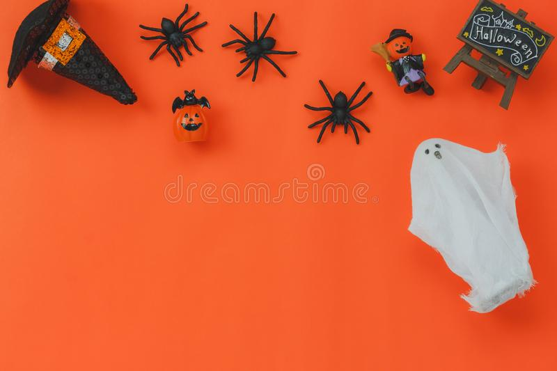Above view of Happy Halloween Festival background concept.Mix different sign of object royalty free stock images