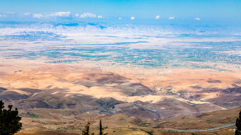 Above view of hills in Holy Land from Mount Nebo stock photo