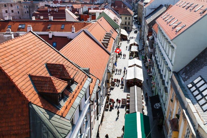 Above view of houses on Michalska in Bratislava stock image