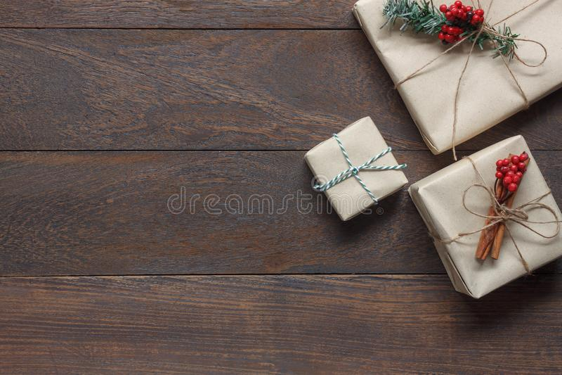 Above view of image item Merry Christmas & Happy New Year decor festival background concept.free space for creative design. Essential decorations on modern royalty free stock photo