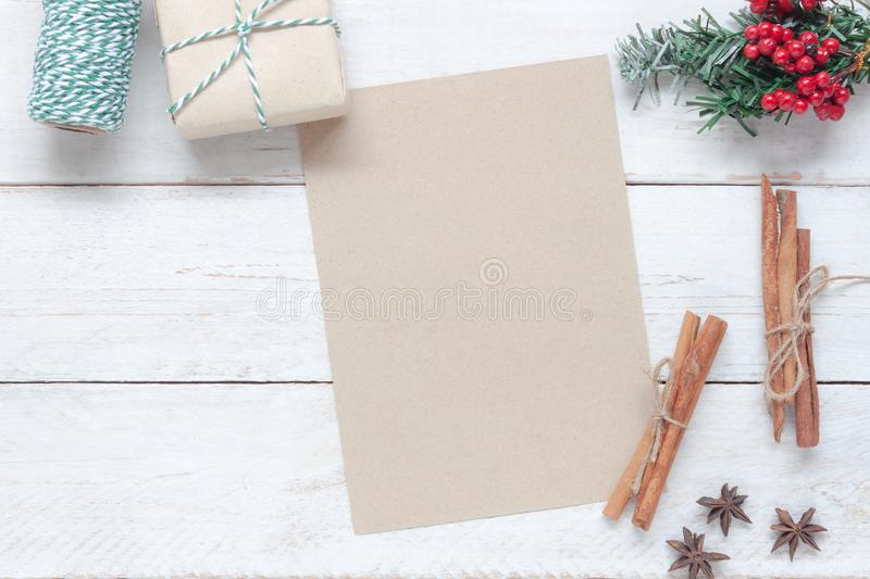 Above view of image item Merry Christmas & Happy New Year decor festival. Background concept.free space for creative design.Essential decorations on modern stock image