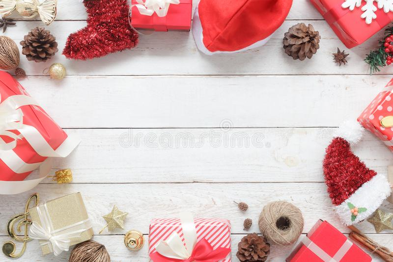 Above view of image item Merry Christmas & Happy New Year decor festival background concept. Free space for creative design.Essential decorations on modern royalty free stock images
