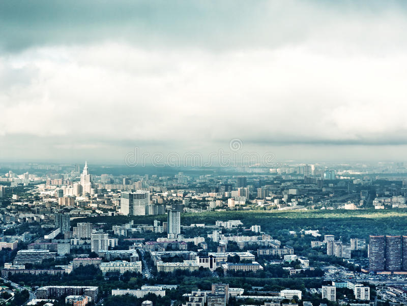 Above view Moscow cityscape royalty free stock photography