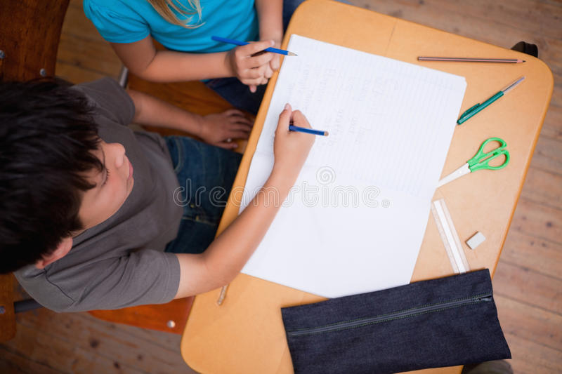 Download Above View Of Pupils Working Together Royalty Free Stock Photo - Image: 22692495