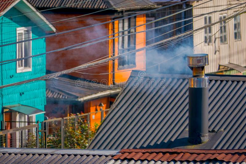 Above view of rooftop of colorful houses in the horizont located in Castro, Chiloe Island. In Chile stock photos