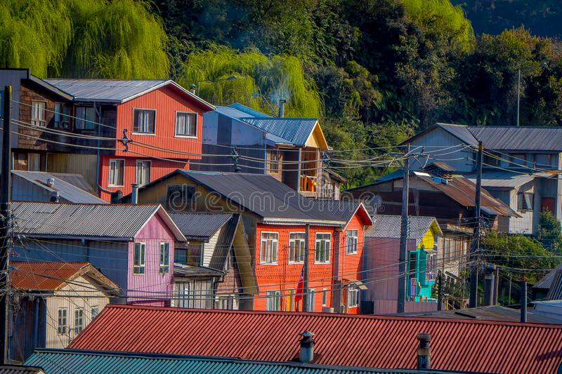 Above view of rooftop of colorful houses in the horizont located in Castro, Chiloe Island. In Chile stock image