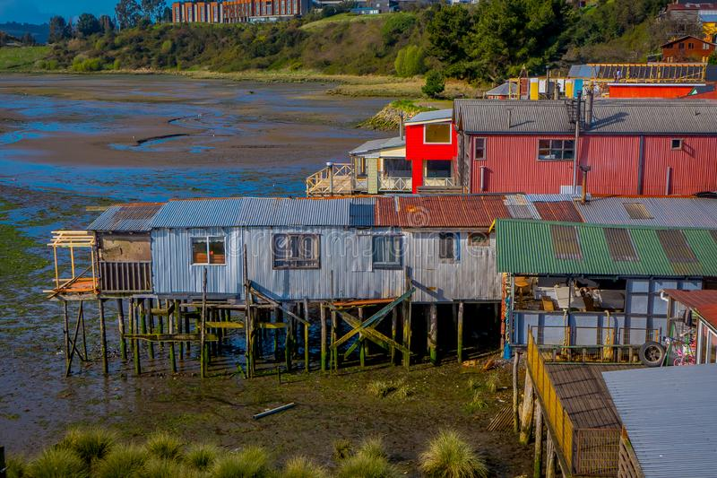 Above view of rooftop of colorful houses in the horizont located in Castro, Chiloe Island. In Chile royalty free stock image