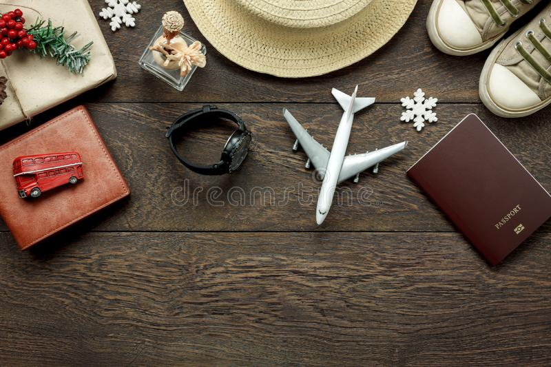 Above view shot of accessories fashion lifestyle to travel and Merry Christmas & Happy new year concept. stock image