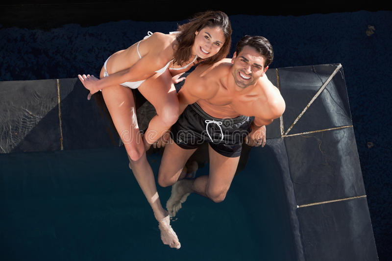Above View Of A Smiling Couple Posing Stock Photo