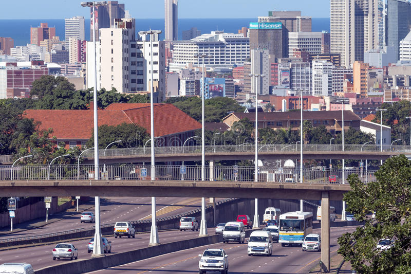 Above View of Traffic Entering And Leaving City Center. DURBAN, SOUTH AFRICA - APRIL 16, 2017: Above view of traffic entering and leaving CBD against city and royalty free stock images