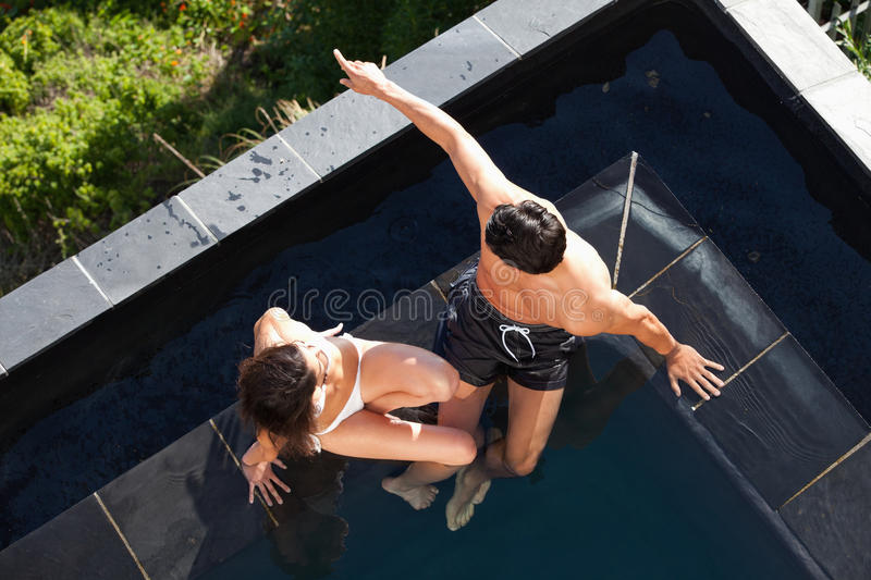 Above View Of A Young Couple Talking Royalty Free Stock Photography