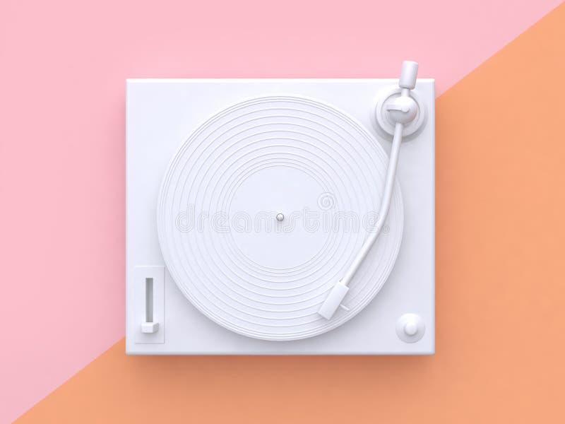 abrégé sur blanc incliné par fond en pastel orange rose 3d minimal joueur de vinyle de disque vinyle rendre le concept de technol illustration libre de droits