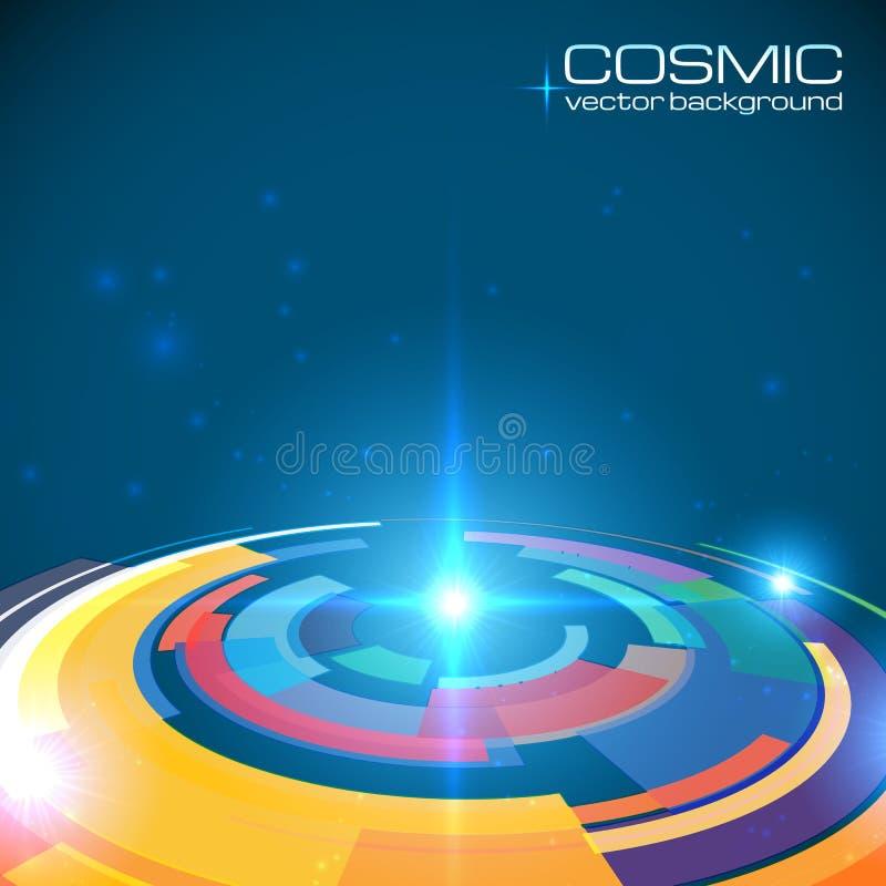 Abrégé sur brillant coloré cosmique disque illustration libre de droits