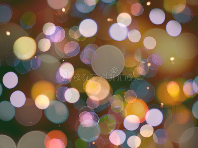 Abrégé sur brouillé rond rougeoyant coloré multi nuit de lumières avec des effets d'étincelle illustration de vecteur
