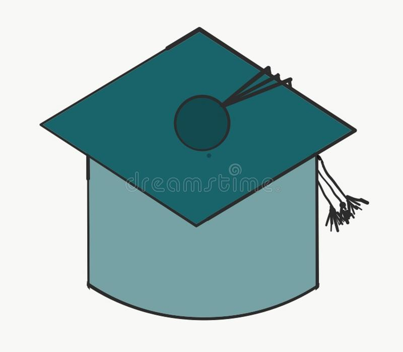 Abrégé sur de graduation couleur verte de School Art Photo Vector Illustration Object d'étudiant d'éducation de chapeau d'usage d illustration de vecteur