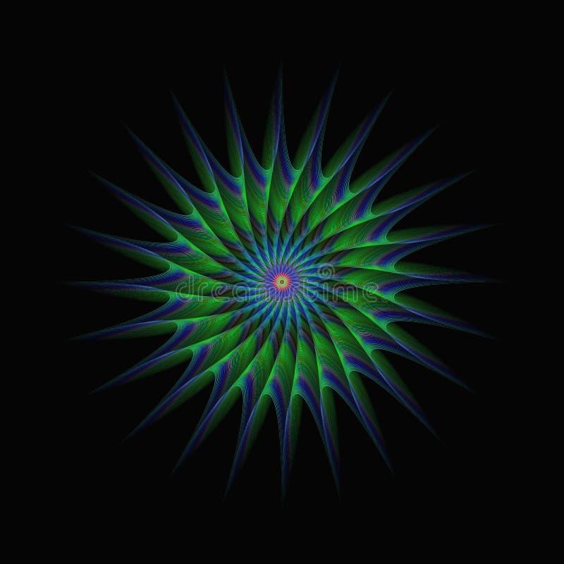 Abrégé sur fractale d'étoile verte et bleue illustration stock
