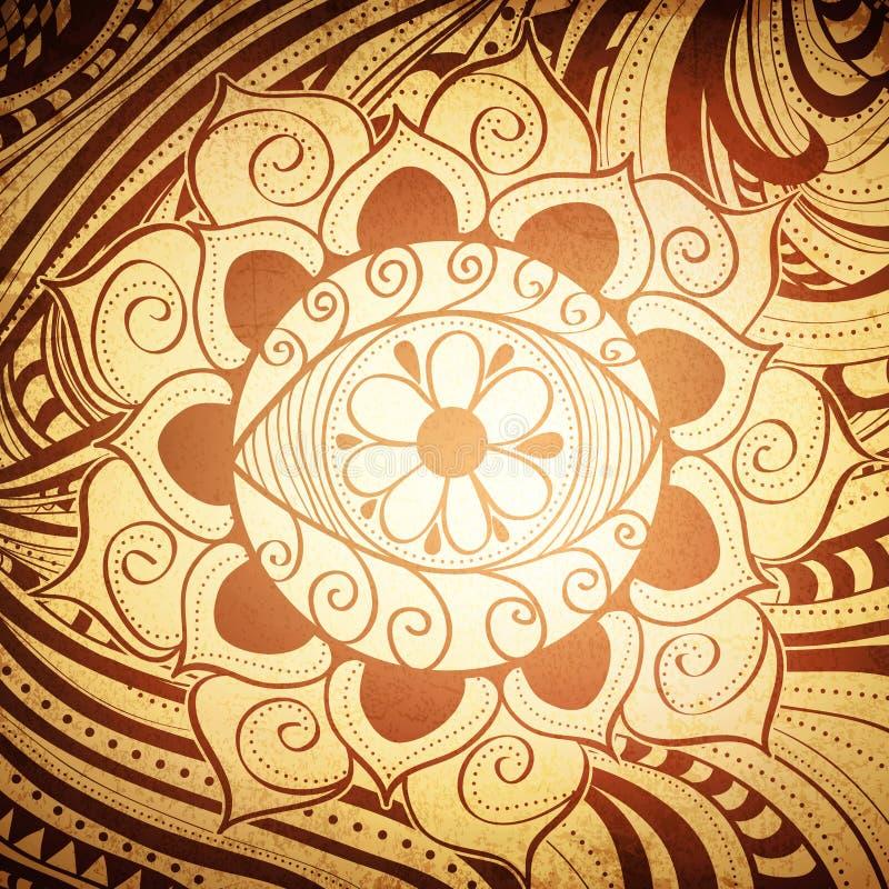 Abrégé sur Henna Color Mandala Background oeil de Fird illustration libre de droits
