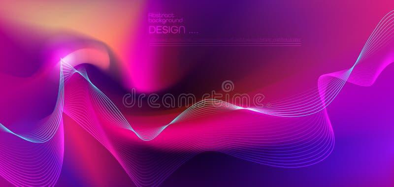 Abrégé sur illustration rougeoyant, effet de lampe au néon, ligne de bande modèle sur le fond liquide lumineux de gradient illustration libre de droits