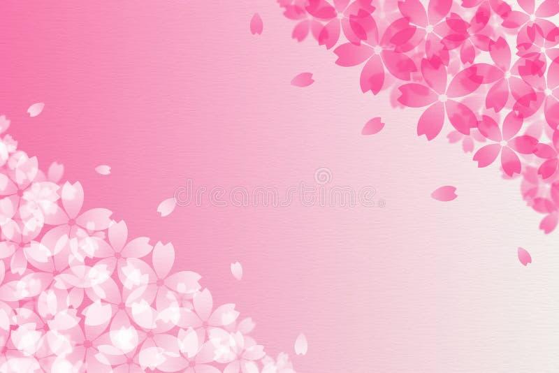 Abrégé sur japonais fleurs de cerisier et fond de papier rose de vintage illustration libre de droits