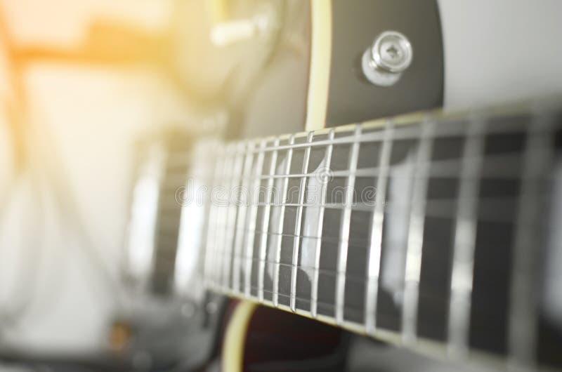 Abrégé sur macro de guitare électrique image stock