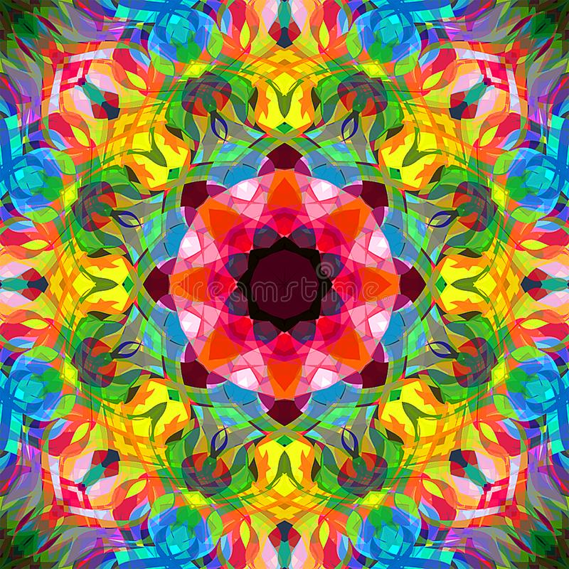 Abrégé sur Mandala Background florale colorée peinture de Digital illustration stock