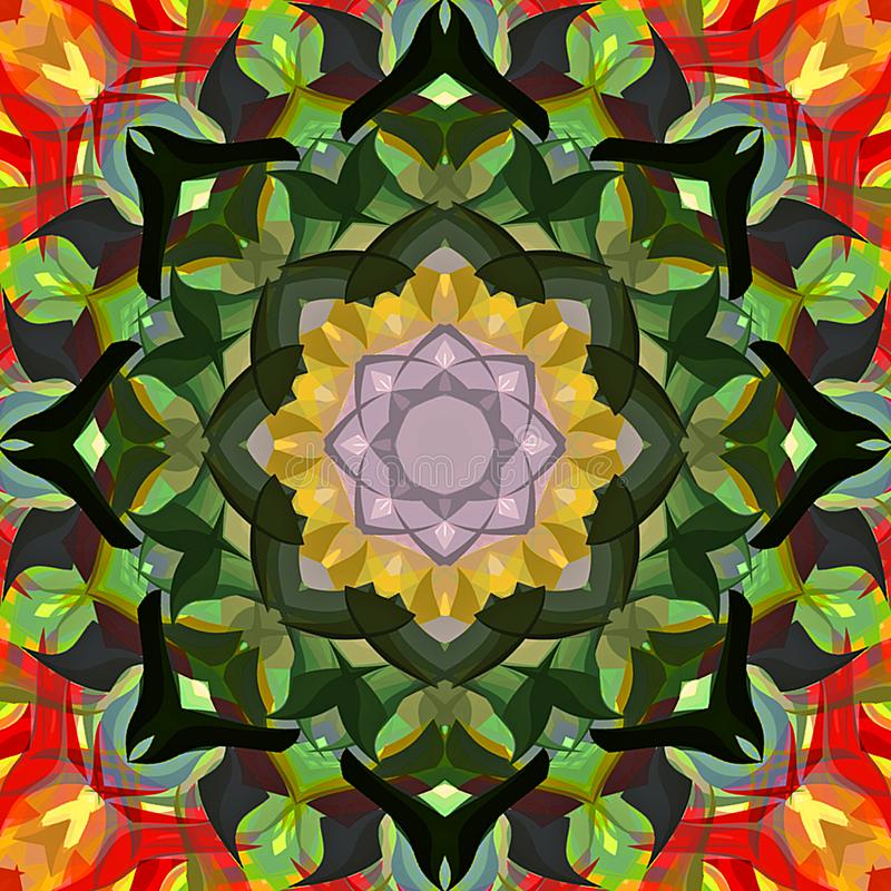Abrégé sur Mandala Background florale colorée peinture de Digital illustration de vecteur