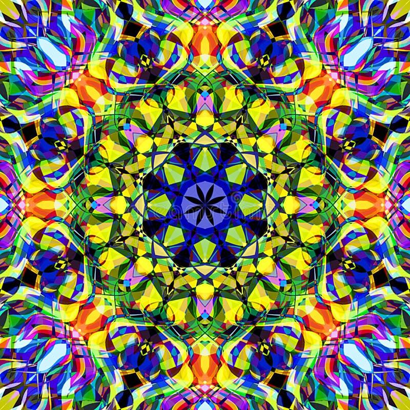 Abrégé sur Mandala Background florale colorée peinture de Digital illustration de vecteur