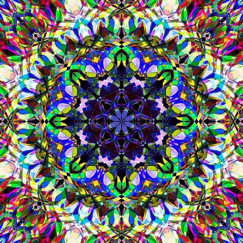 Abrégé sur Mandala Background florale colorée peinture de Digital illustration stock