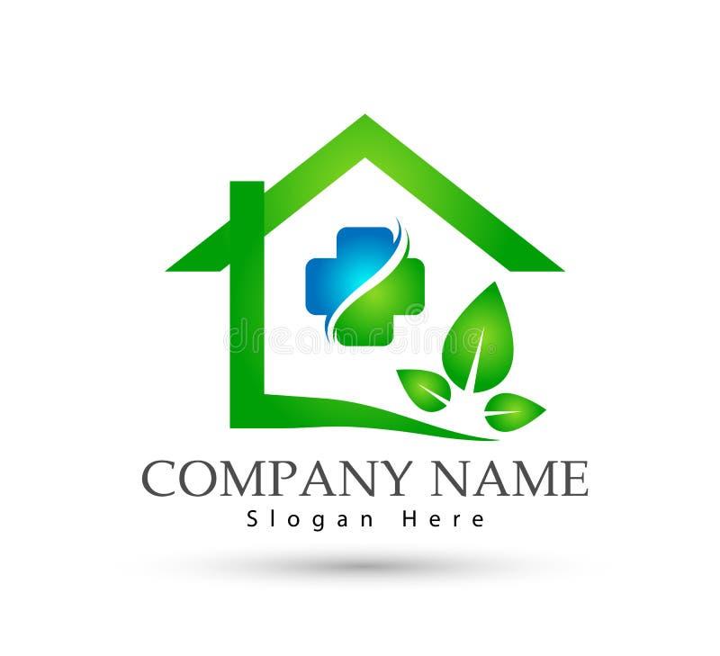 Abrégé sur modèle la communauté de Chambre, vecteur de logo d'immobiliers d'icône de soins de santé de feuille illustration stock