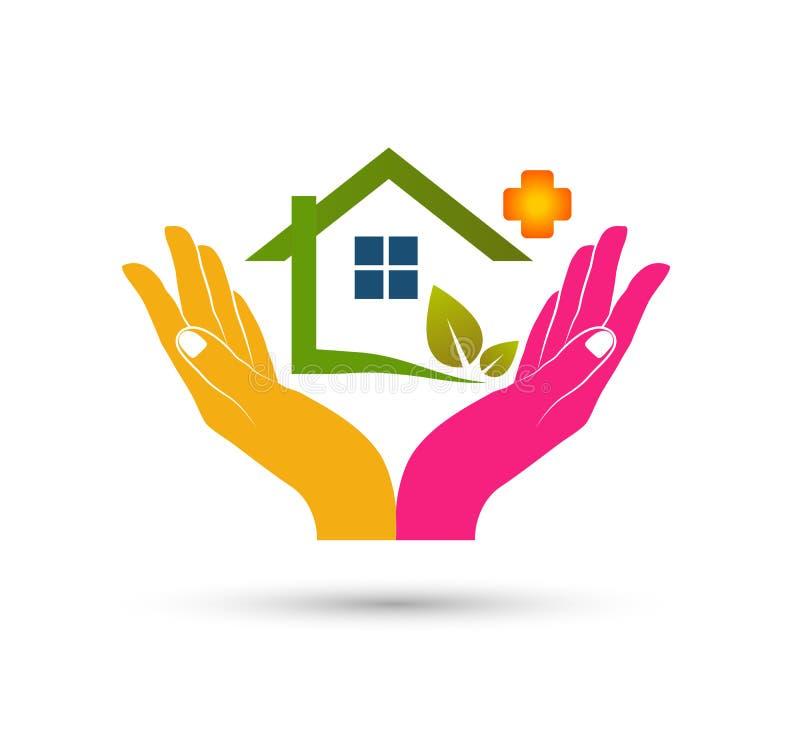 Abrégé sur modèle la communauté de maison verte, feuille dans le vecteur de logo d'immobiliers de mains illustration libre de droits