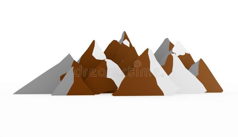 Abrégé sur montagne rendu sur le fond blanc image stock