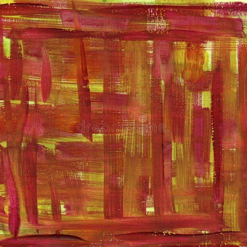 Abrégé sur rouge et jaune aquarelle sur la toile images stock