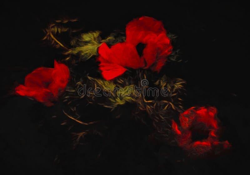 Abrégé sur rouge pavots et feuilles images libres de droits