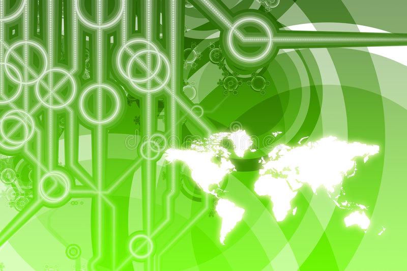 Abrégé sur technologie d'affaires globales illustration de vecteur