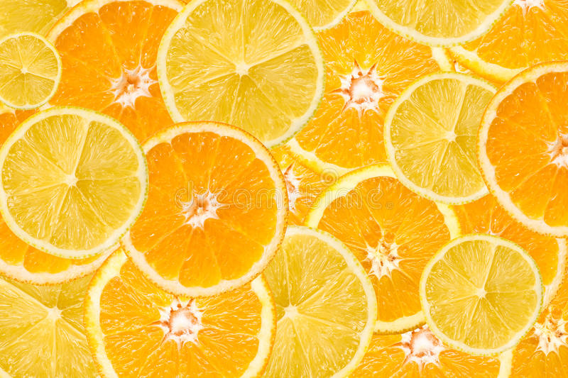 Abrégé sur tranche d'orange et de citron photo libre de droits