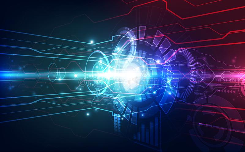 Abrégé sur vecteur innovation photographique de technologie de lentille à grande vitesse futuriste Couleur élevée de bleu de tech illustration stock