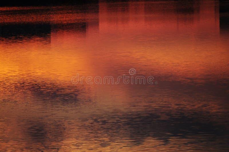 abrégez le fond Ciel de coucher du soleil reflété dans l'eau image stock