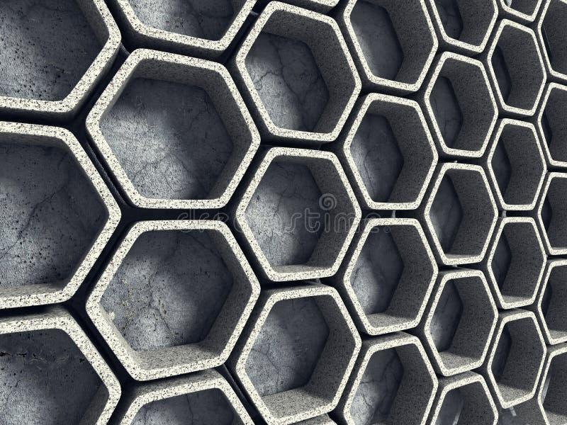 Abrégez le fond d'architecture Mur en béton d'hexagone photos libres de droits