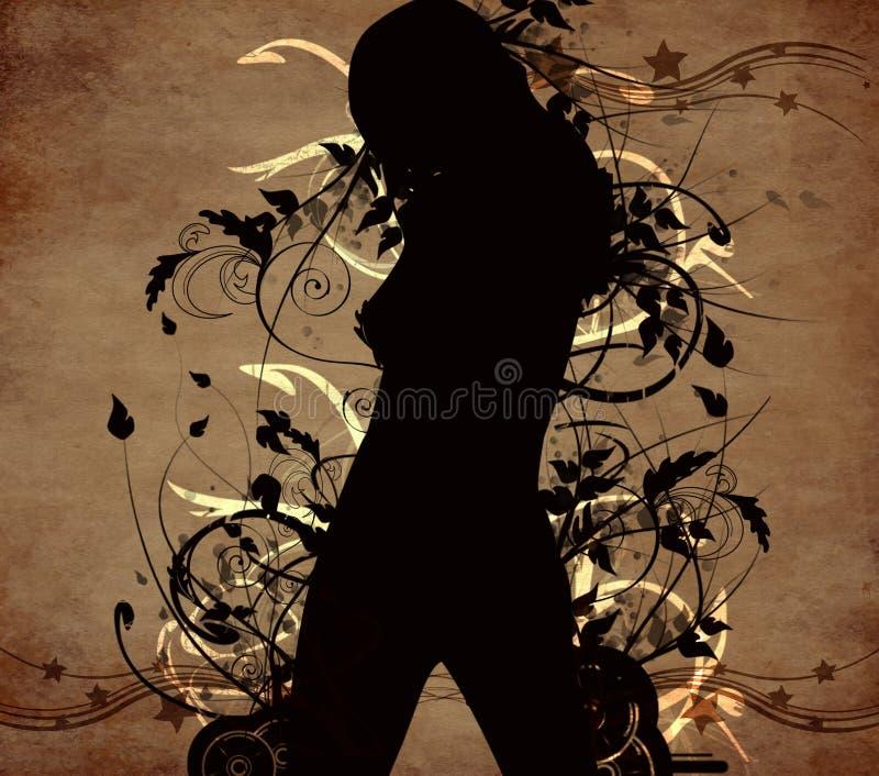 Abrégez le fond de fleur avec une danse de fille illustration de vecteur
