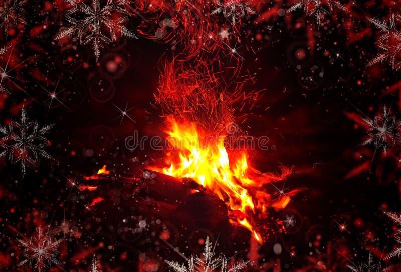 abrégez le fond Feu de Noël, cheminée images libres de droits