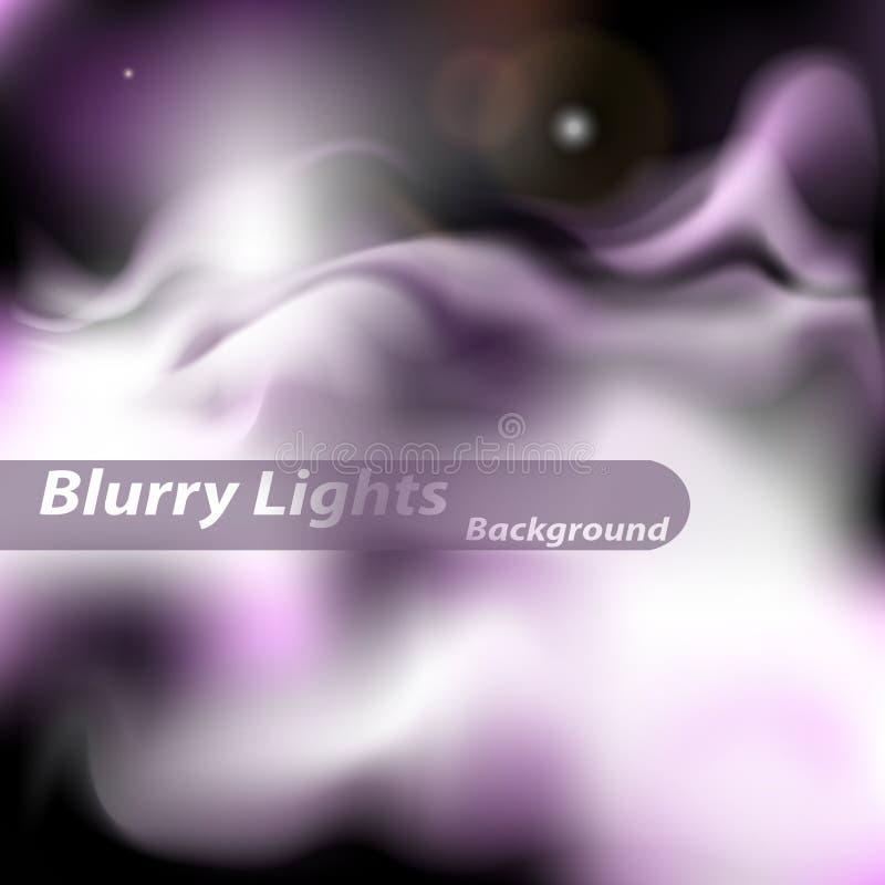 abrégez le fond Fumez, brume sur le fond des lumières brouillées pourpres et lilas illustration stock