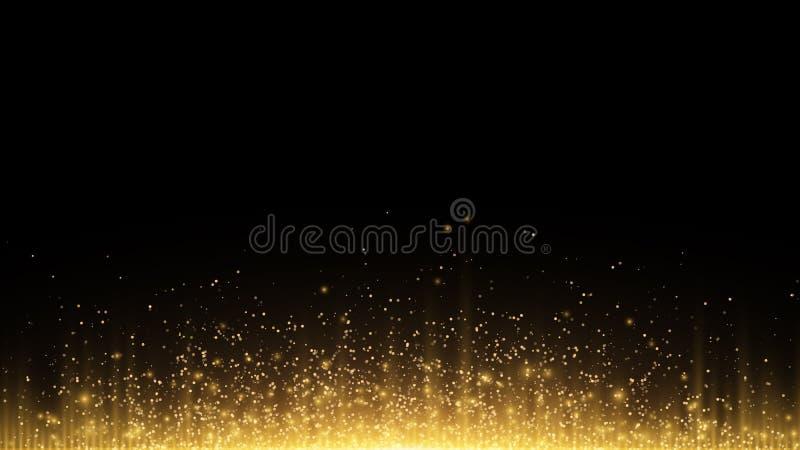 abrégez le fond Les rayons de la lumière d'or avec la poussière magique lumineuse rougeoient dans l'obscurité Vecteur illustration stock